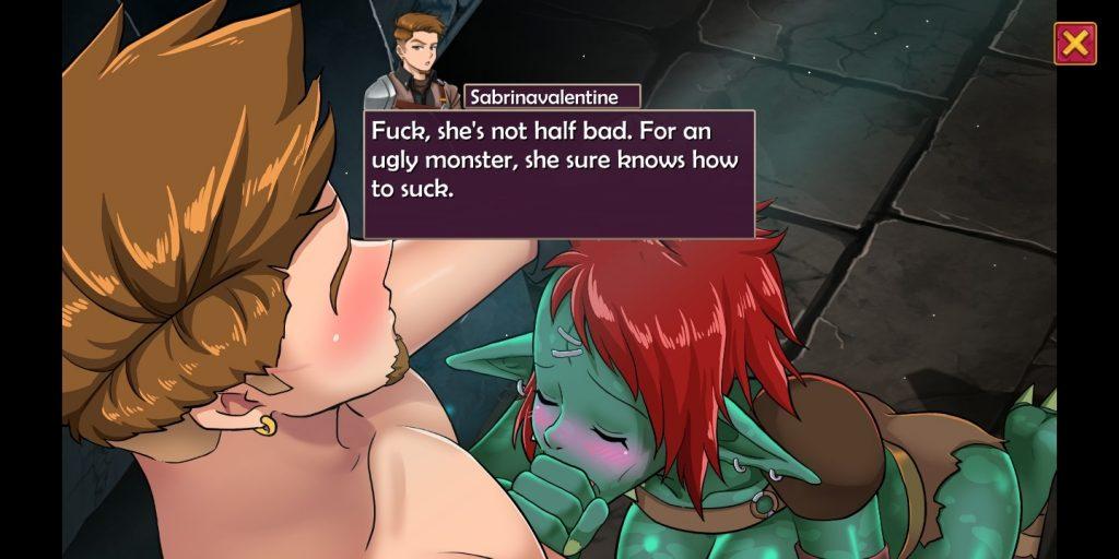 monster girl sucks handsome hero's dick